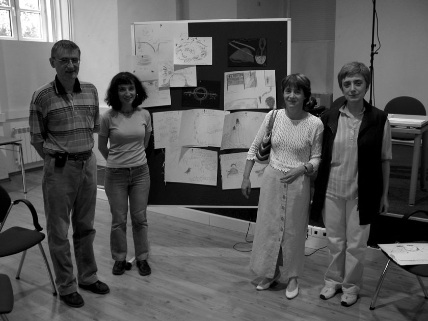 Roumen Georgiev, Valja Marinova, Jenia Georgieva, Nina Kiselkova after the project team's first attempt at time travel.