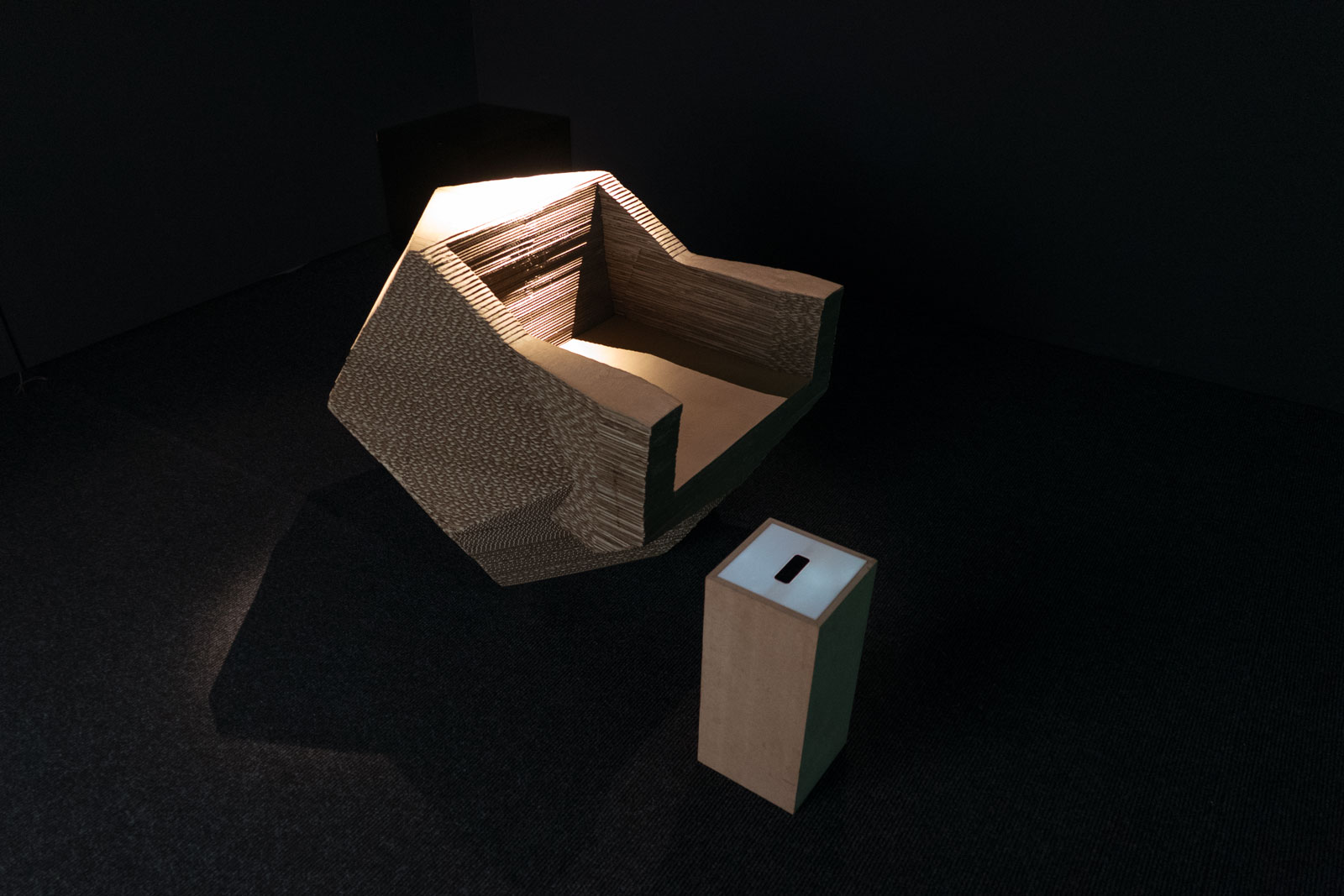 Time Machine Chair, cardboard, 100 x 100 x 85 cm and interface