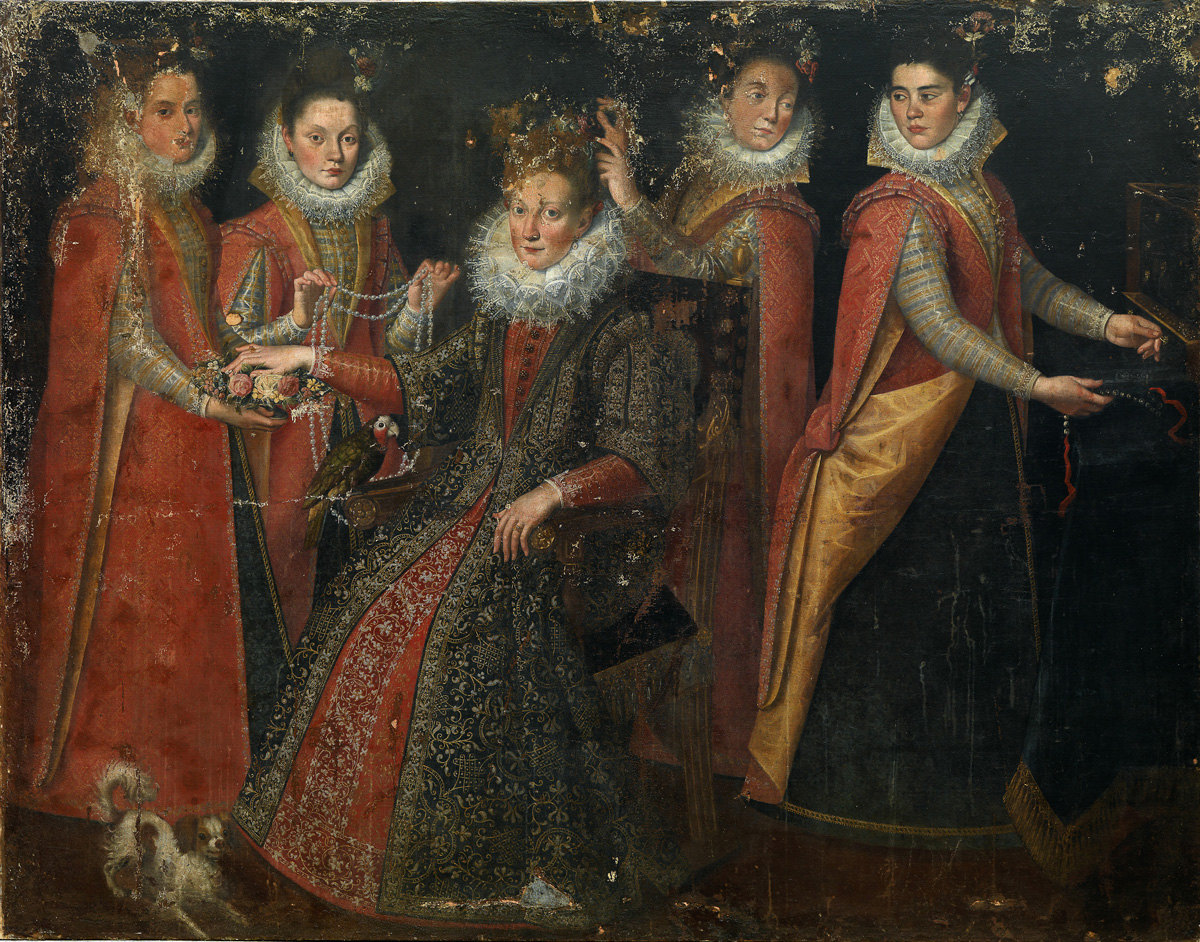 Parrot_with_five_women_and_a_dog