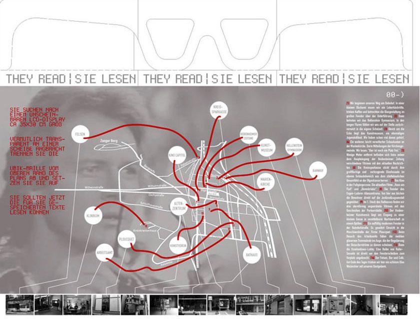 Stadtplan mit den Orten, an denen sich die 14 Displays befinden